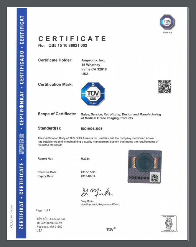 ISO 9001 Certificate Ampronix