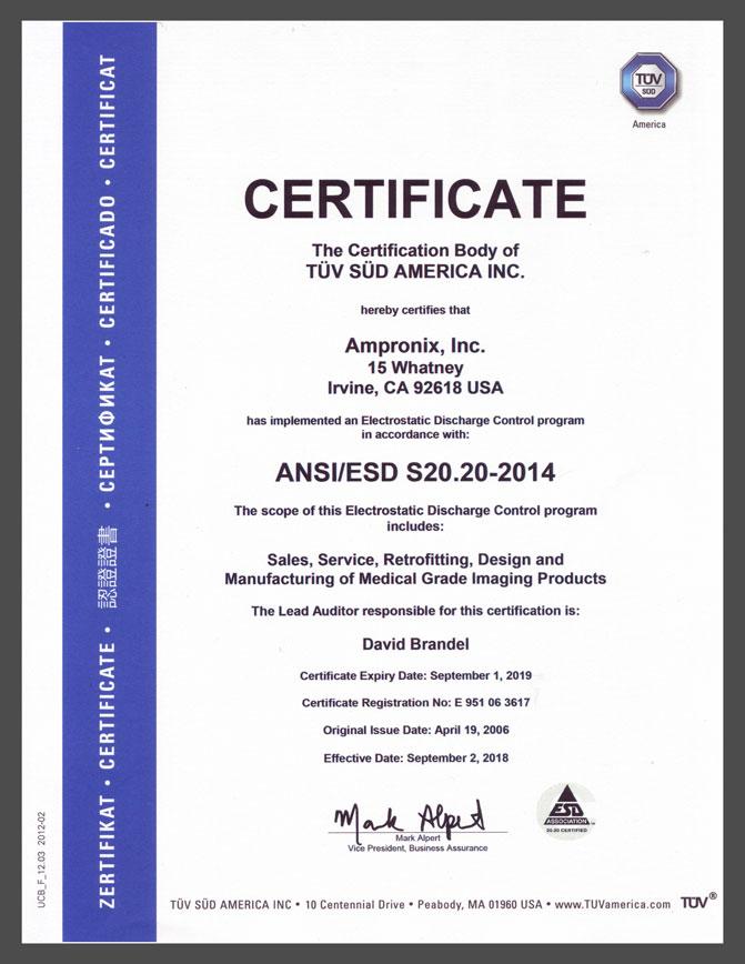 Ampronix ANSI/ESD Certificate