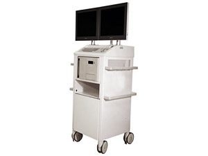 Siemens Siremobile mobile C-Arm Fluoro cart with full frontal view of Modalixx G202MG LCDs upgrade