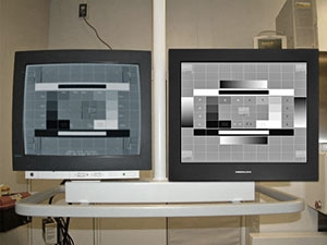 Siemens vascular room with dual Modalixx G202MG displays replacement of Siemens brand CRTs model # Simomed #3792087X2080